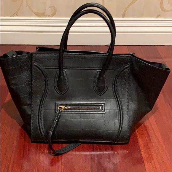 Celine Handbags - Celine croc stamp black large phantom